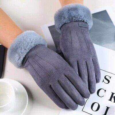 Gloves Women Winter Warm Windproof Thick Screen Touch Snow Knit Mittens Soft