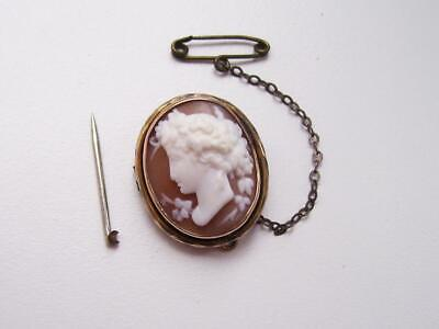 Charming Antique 9ct Gold Carved Shell Cameo Greek Goddess Pin Brooch