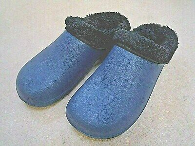 NEW Briers dark blue fleece - lined CLOGS--Size 5 UK adult.