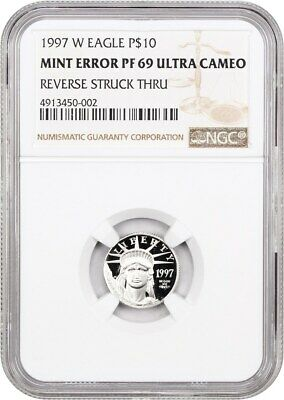Mint Error: 1997-W Platinum Eagle NGC PR 69 UCAM (Reverse Struck Through)