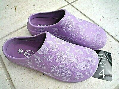 NEW Burwood lilac garden CLOGS with flower patterns -Size 4 UK - Made by Briers.