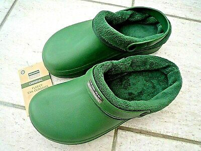 NEW Town & Country green fleecy lightweight CLOGS--Size 9 UK adult.