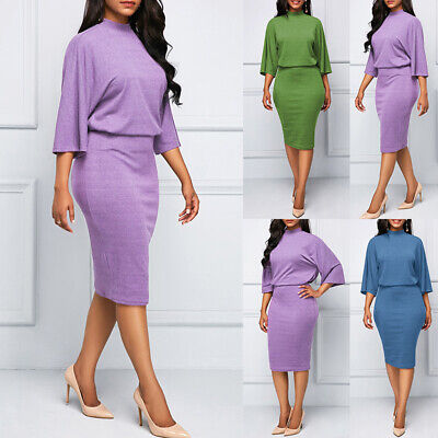 Ladies Solid Pencil Dress Crew Neck Bodycon Formal Summer Evening Business Party