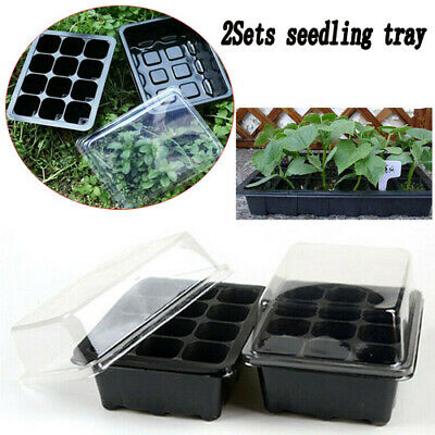 2Sets Seedling Trays 12 Cells Seed Starter Box Plant Flower Grow Germination Pot