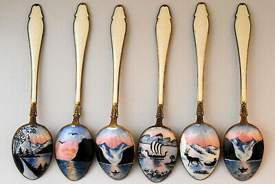 Antique Kristian Hestenes Sterling Silver Enamel Spoons Set of 6 with Box