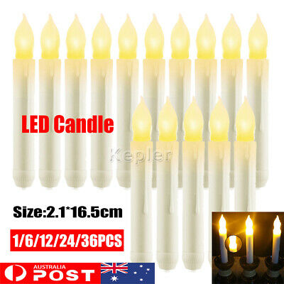 1-36X LED Flameless Taper Flickering Battery Operated Candles Lights Party Decor