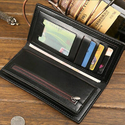 Black Business Mens Long Casual Leather Wallet Pockets Card Clutch Bifold Purse
