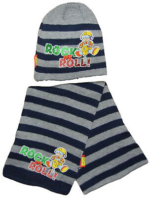 Bob Builder Hat And Scarf Set 2-4 Years 52CM Grey Navy Striped Rock And Roll
