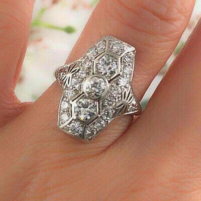 Vintage Art Deco Antique Wedding Ring 925 Sterling Silver 2.75 Ct Round Diamond