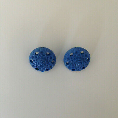 Set 2 Vintage Blue Plastic Roses Flower Buttons Self Shank Sewing Craft 40s 50s