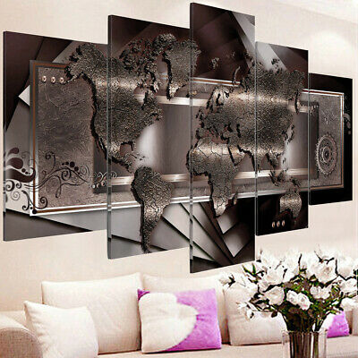 5 Panels Framed Large World Map Wall Print Oil Painting Canvas Art Home Decor