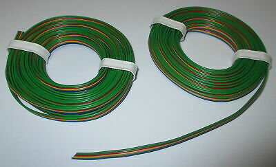 [0,695 €/ M] Four of a kind Wire Blue Yellow Red-Green 2x5meter Ribbon Cable New