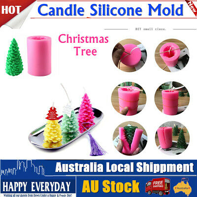 Silicone 3D Christmas Tree Candle Mold Xmas Cedar DIY Aromatherapy Craft Mould