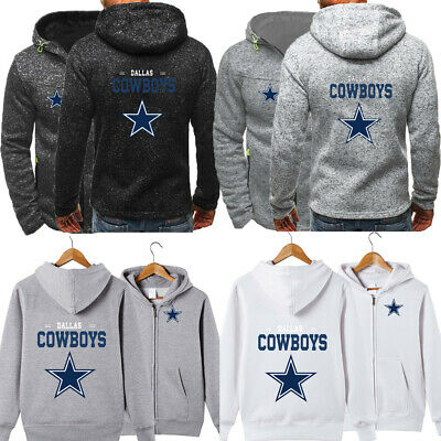 Dallas Cowboys Hoodie Football Hooded Sweatshirt Fleece Coat Full-Zip Jacket