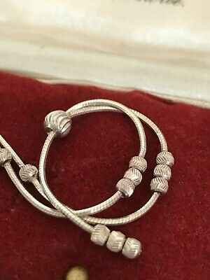 """925 Italy Sterling Silver Lariat Necklace with textured Balls 16.5"""" 42cm  (D6A3)"""
