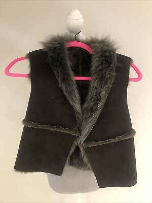New French Connection Girls Kids Faux Fur Gilet Age 10 Bnwt Rrp £35.50