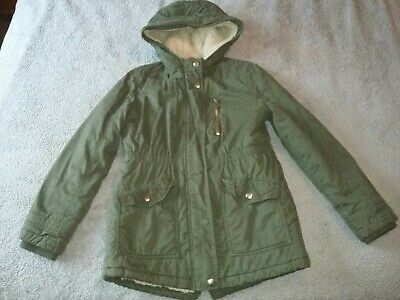 Girls Khaki Green Parker Style Coat Size 10 - 11 Years Nutmeg - Hooded & Lined