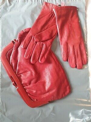 Vintage 80s does 40s red leather clutch bag and gloves, ww2,