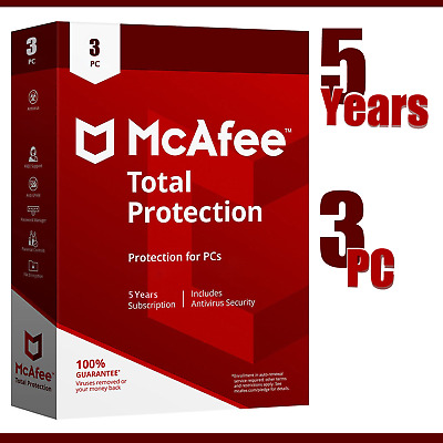 McAfee Total Protection 2020 5 Year's  3 Device's Windows instant delivery