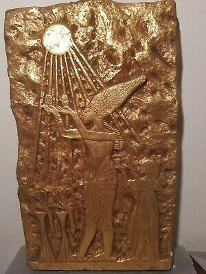 Rare Antique Ancient Egyptian Stela King Akhenaten Nefertiti God Sun1353–1336BC