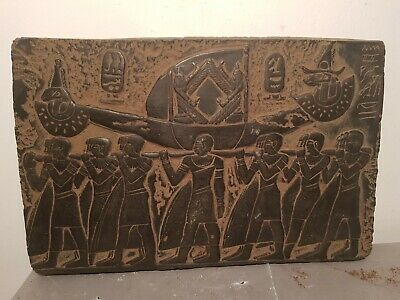 Rare Antique Ancient Egyptian Stela Funeral Boat God Isis Khnum Fly1640-1570BC