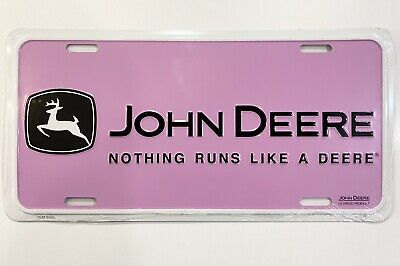 John Deere Metal Embosed License Plate Nothing Runs Like A Pink
