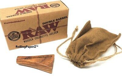 RAW Rolling papers wooden Double Barrel Cigarette Holder 1 1/4 size RAWTHENTIC!
