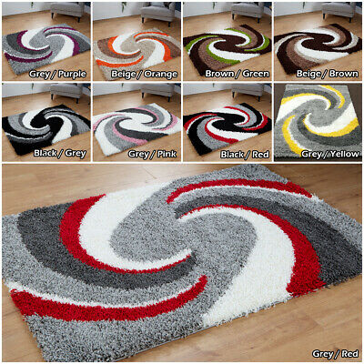 NEW LOW COST SWIRL PATTERN GREY SILVER YELLOW RED 5cm NON SHED MODERN SHAGGY RUG