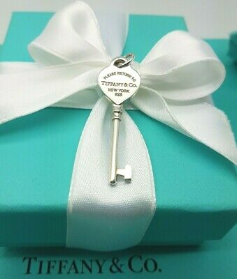 Return To Tiffany & Co Sterling Silver Heart Key Charm Pendant ONLY