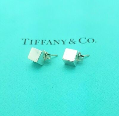 Authentic Tiffany & Co Cube Square Stud Earrings in Sterling Silver Rare Classic