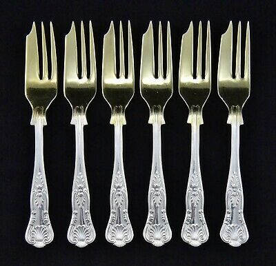 "6 Heavy Vintage Sheffield Gilded Silver Plated Kings Pattern 5.5"" Cake Forks"
