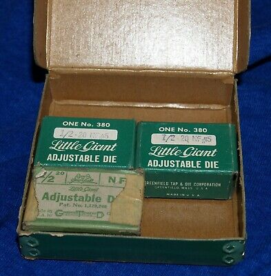 3 boxes Greenfield Little Giant #380 1/2- 20 NF #5 Adjustable Dies