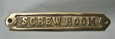 Solid Brass - Screw Room Sign - 8 in long - Raised letters - Border - Screws Inc
