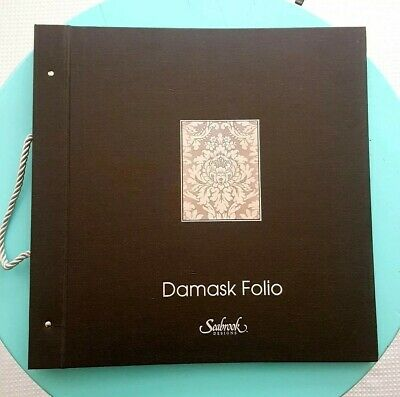 Seabrook Damask French Writing, Blooms, Stripes Wallpaper Sample Book