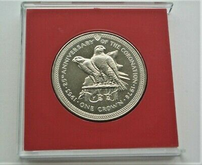 """TWO 2 FALCONS"" 1978 25th ANNIVERSARY OF CORONATION ISLE OF MAN CROWN - IoM MANX"