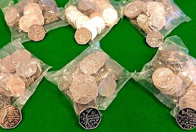 RARE Peter Pan UK 50p x 50 Coins 6 Sealed bag's FULL SET of 6 Designs 300 coin's