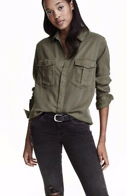 BRAND NEW FREE POSTAGE H&M Conscious Khaki Cargo Long Sleeve Long Dress Shirt