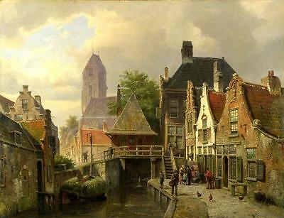 Art Print European Town Oil painting Giclee Printed on Canvas 16x20 inches P325