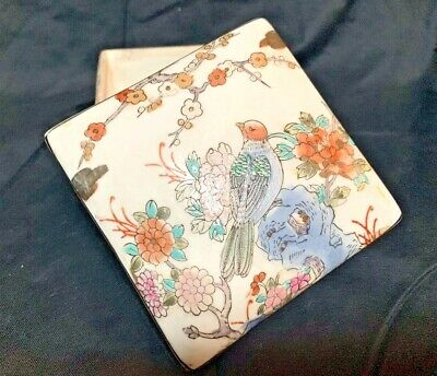 Antique Signed Chinese Hand-painted Porcelain Enamel Square Trinket Jewelry Box