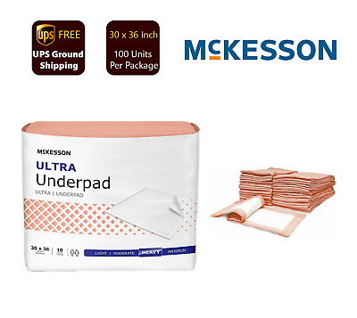 """McKesson Underpad HEAVY Absorbency 30 X 36"""" UPHV3036 - 100 Pads Per Pack"""