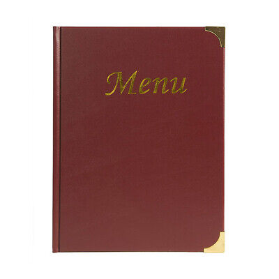 A4 Wine Red Gloss Leather Style Restaurant Menu Holder / Menu Cover