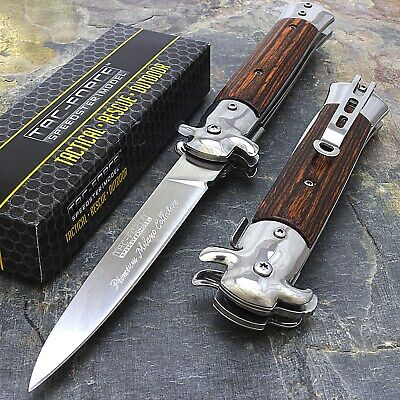 """9"""" STILETTO TAC FORCE MILANO TACTICAL WOOD SPRING ASSISTED FOLDING KNIFE Pocket"""