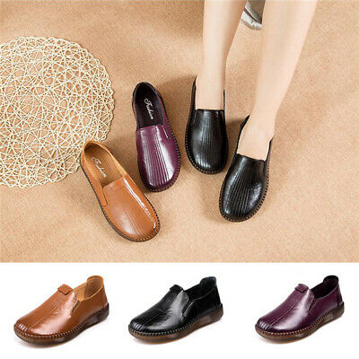 Women's Round Toe Real Leather Flat Loafers Driving Nurse Work Casual Boat Shoes
