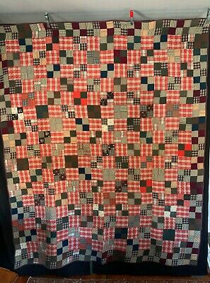 Antique C1910 Colorful Quilt Hand Quilted Overall 4 Patch Variation Small Pieces