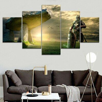 Knight Templar Sword Shield 5 Pieces Canvas Wall Art Poster Print Home Decor