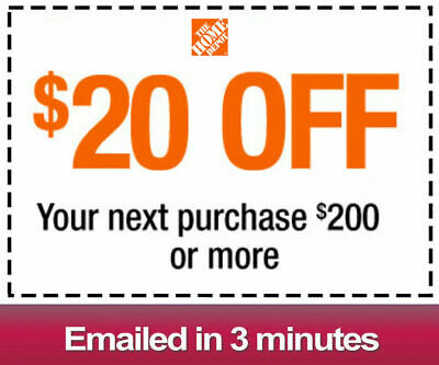 One 1x Home Depot $20 OFF $200Coupon-INSTORE ONLY -Fast-Delivery--