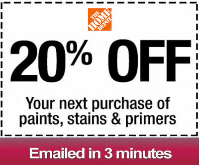 One 1x Home Depot 20% OFFCoupon Paint&Stain-INSTORE ONLY -Fast-Delivery--