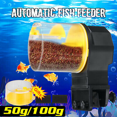 Automatic Fish Food Feeder Timer Pet Aquarium Tank Pond Dispenser +2 Feeding Box