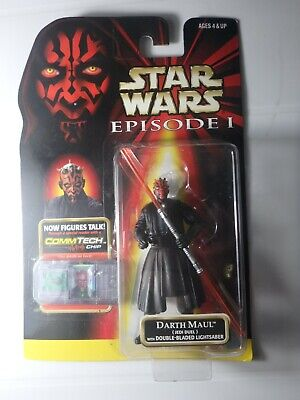 Star Wars Darth Maul Jedi Duel with Double-BLADED Lightsaber Episode 1 COMMTECH