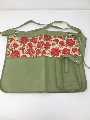 Laura Ashley Floral Green Leather effect Gardening Tool Belt Pouch Holder NWOT